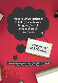 How I Can Help You With Your Blogging & Social Media Chores: http://www.geekyva.com/help-blogging-social-media-chores/