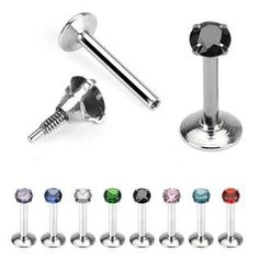 "316L Surgical Steel Internally Threaded Labret with 2mm Prong Set Clear Gem Top - 16G - 5/16"" - Sold as a Pair WickedBodyJewelz - Labrets. $7.56"