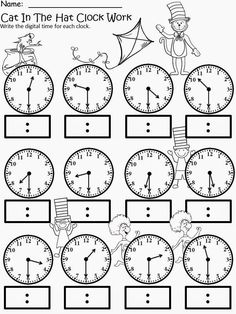 Kindergarten math - Free The Cat In The Hat Clock Work For educational purposes only not for profit Based on the story by Dr Seuss 3 different levels for differentiated instruction Analog and Digital Clocks Enjoy! Regina Davis aka Queen Chaos at Fa