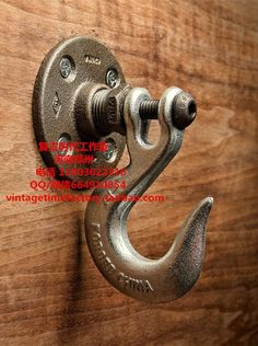 Vintage Heavy Industrial Loft Pipe Wall Hook Interior Decor Bathroom Decor…