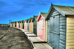 a beach hut with a view! I've ALWAYS wanted to hire a beach hut for a day, must add it to my Day Zero list Holiday Competitions, Holiday Essentials, Beach Huts, I Love The Beach, Deep Blue Sea, Photography Contests, Birdhouses, Great Britain, Pastels