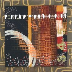 """""""on the wire"""" 10"""" square art quilt attached to a 12"""" square canvas by Lynn Krawczyk"""