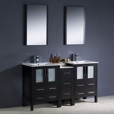 Fresca Bari Espresso Undermount Double Sink Bathroom Vanity with Ceramic Top (Faucet Included) (Common: 60-in x 18-in; Actual: 60-in x 18.13-in)
