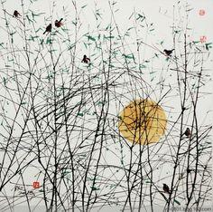 Watercolor Landscape, Abstract Watercolor, Landscape Art, Watercolor Paintings, Abstract Art, Chinese Painting, Chinese Art, Zen Art, Gravure