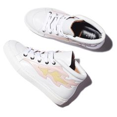Laurence Decade Hugh Sneaker in White w/ Pastel Emblazoned Flame