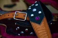 BadAxe Straps Custom Leather Guitar Straps Legacy Ostrich Leg Amethyst