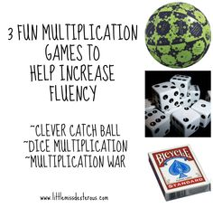 Disguise learning and make it fun with these 3 multiplication games. Clever Catch Ball, Dice  Multiplication, and Multiplication War are great games to increase fluency!