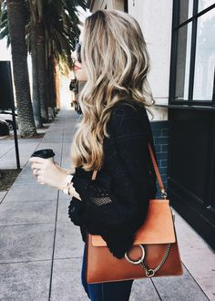Chloe Faye bag and black blouse Indie Fashion, Cute Fashion, Fashion Beauty, Fashion Looks, Fashion Outfits, Fashion Check, Fashion Pics, Fashion Trends, Faye Bag