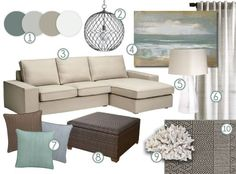 mood board: cool, neutral earth tones with a definite coastal vibe. accent pieces for beige couch Coastal Bedrooms, Coastal Living Rooms, Living Room Colors, New Living Room, My New Room, Home And Living, Living Room With Beige Couch, Earth Tone Living Room Decor, Beige Couch Decor