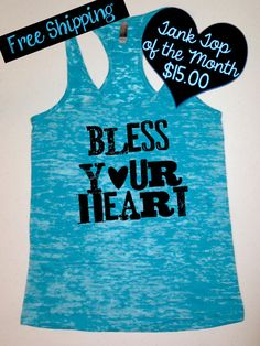 Tank Top of the Month. Bless your Heart. Southern Girl Tank. Country Tank Top. Country Girl Clothing. Southern Clothing. Free Shipping USA on Etsy, $15.00