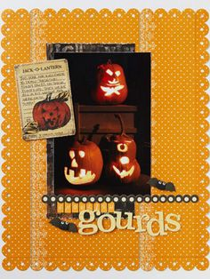 Ghoulish Gourds Halloween Scrapbook Page