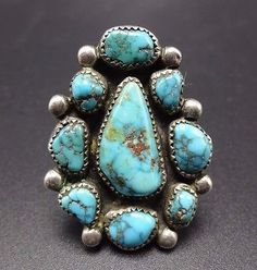 Vintage NAVAJO Sterling Silver & Deep Blue BISBEE TURQUOISE Cluster RING, sz 8.5