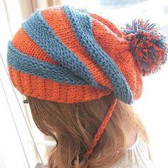 Color Blocking Striped Winter Warm Hat-Wendybox.com