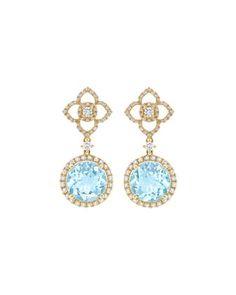 Aurora Blue Topaz & Diamond Drop Earrings by Kiki McDonough at Neiman Marcus.