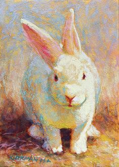 """Daily Paintworks - """"Candy"""" - Original Fine Art for Sale - © Rita Kirkman Bunny Painting, Bunny Drawing, Bunny Art, Colorful Paintings, Animal Paintings, Animal Drawings, Art Drawings, Wildlife Paintings, Rabbit Art"""