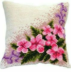 Cushion Embroidery, Ribbon Embroidery, Cross Stitch Embroidery, Crochet Cushions, Crochet Pillow, Cross Stitch Heart, Cross Stitch Flowers, Small Pillow Cases, Cross Stitch Cushion