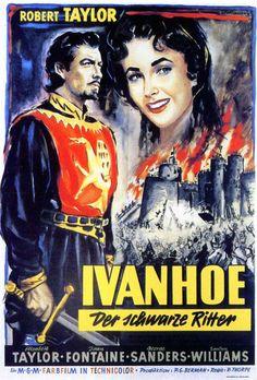 IVANHOE (1952) - Robert Taylor - Elizabeth Taylor - Joan Fontaine - George Sanders - Emelyn Williams - Based on book by Sir Walter Scott - Directed by Richard Thorpe - MGM - German movie poster.