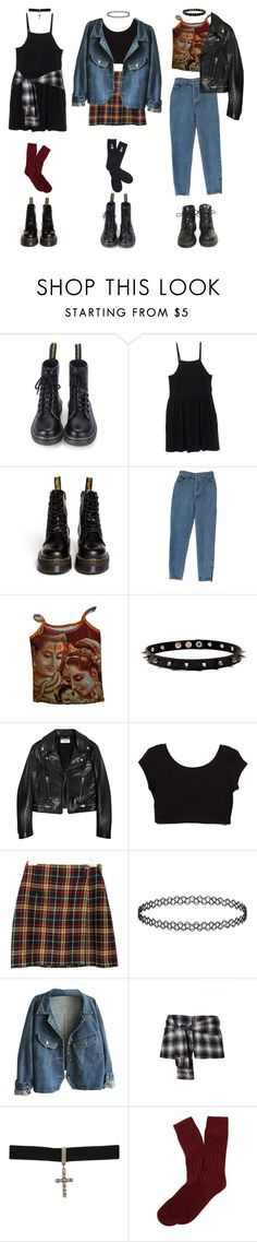 """mon, tues, wed"" by grimess ❤ liked on Polyvore featuring Dr. Martens, Miu Miu, Yves Saint Laurent, Topshop, Gathering Eye, Brooks Brothers and Abandon Ship"