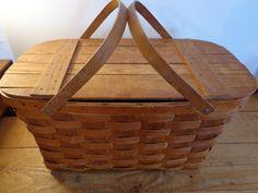 Vintage Oak Picnic Basket - Wov-N-Wood by JeryWil BrandedBasket is long. Picnic Baskets, Vintage Baskets, Large Baskets, Bird Cages, 21st, Wood, Woodwind Instrument, Timber Wood, Bird Cage