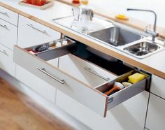 drawer that wraps around sink. use to to utilise space and store washing equipment