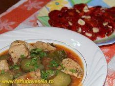 Mancare de castraveti murati cu pulpa de porc (reteta video) Chicken, Meat, Pork, Cubs, Kai