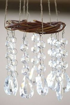 Wind chime with chandelier crystals.