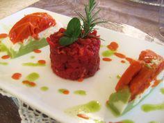 Steak Tartare with bavarian of tomatoes, mozzarella and basil
