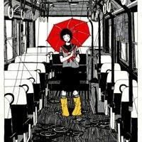 Japanische Kunstler Anime Kunst Regenschirme Grafische Comic Tapete Zug Band Zeichnen