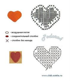 Crochet Applique - Heart Diagram