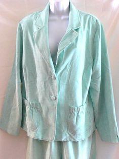 Maggie Sweet 3 Piece Pant Skirt Suit 1X Green Mint Jacket XL Pant 1XP Skirt #MaggieSweet #PantSuit