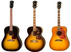 Gibson acoustic guitars, my two favorite acoustics I will own the two on the right one day I swear!
