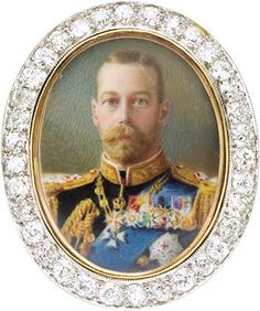 King George V Portrait Miniature Mounted as a Diamond Brooch.English, circa 1915. Depicting the Monarch in full dress.