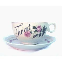 Twat Altered Vintage Teacup and Saucer (38 CAD) ❤ liked on Polyvore featuring home, kitchen & dining, drinkware, home & living, silver, pink teacup, pink cup, vintage teacups, vintage cups and pink tea cup