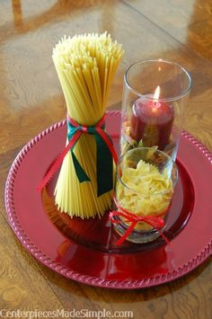 Simple table decor for Italian night | pasta centerpiece invites the family to Italian Night themed dinner