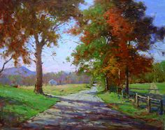 Autumn Lane 24x30 Oil Painting by Jim Rodgers Fine Art Artist #FineArt #JimRodgers