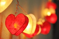 Red Tone Heart paper Lantern String Lights for by smilelights