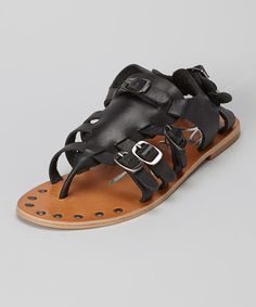 Look what I found on #zulily! Black Carman Leather Sandal by Rebels Footwear #zulilyfinds
