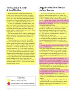 Looking for side by side exemplars of ARGUMENTATIVE vs. PERSUASIVE WRITING on the same topic? (6 Traits of Writing offered free by SmekensEducation.com) Color coded PDF direct link: www.smekenseducat... AND black and white direct link: www.smekenseducat...