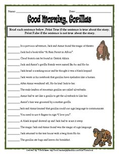 FREE Good Morning, Gorillas Novel Study~  Jack and Annie go on another adventure and this time it is to the African Rain Forest. Here is a ready -to-go, complete set of questions for Good Morning, Gorillas, Magic Tree House Book #26 By Mary Pope Osborne. An answer key is included. Great for whole class novel study or smaller guided reading groups.