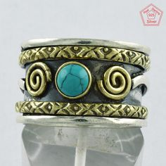Amazing Design Turquoise Stone 925 Sterling Silver Ring _ Jaipur Silver India Co by JaipursilverindiaCo on Etsy