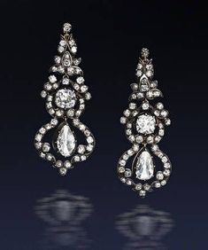 A pair of diamond pendant earrings, last quarter of the 19th century: 9.2 carats
