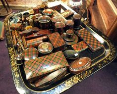 Antique Tartan Ware ❥ Sewing tools, letter openings, ring boxes. various tartans 1880 -1910.