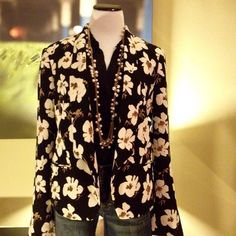 Beautiful Black Floral Open Blazer FINAL PRICE. NO OFFERS ACCEPTED*** This great black floral open blazer from LOFT is new with tags, in a size large. It's a versatile piece, it can be  dressed up with trousers or a skirt, or worn casually with a t-shirt and jeans. LOFT Jackets & Coats Blazers