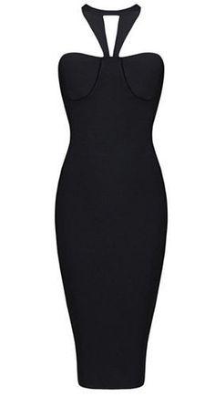 Black V-Halter Bandage Dress