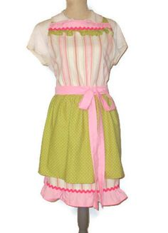 Pink Pastel Stripe Full Apron with Double Skirt by TheSapphireKey