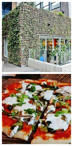"""The """"Greenhouse Restaurant# in Perth, Western Australia - Delicious food and a very cool building with a rooftop garden, recycled furniture, and 4000 terracota pots with ivy plants line the walls. One of my #Hooroo #SecretSpots in Australia."""