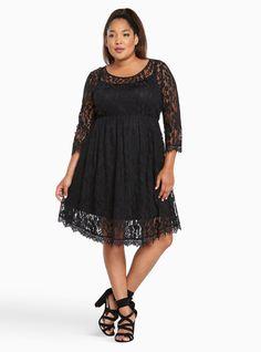 0792a42c1f Lace V-Hem Skater Dress