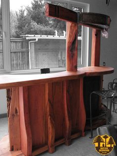 Nativo redwood bar de madera de roble r stico con base de for Bar rustico de madera