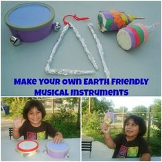 Making Earth Friendly Musical instruments. Fun kids craft using recycled materials. Make your own tambourine, maracas and triangle.