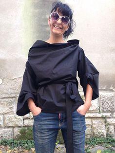 Assymetrical Black Lagenlook Blouse/ Womens by StudioMariya
